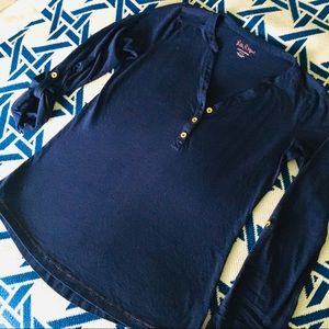 Lilly Pulitzer Navy Pima Cotton Long Sleeve Top